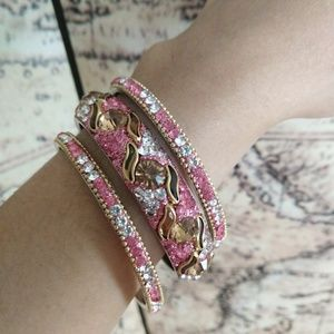 3pc HYDERABAD Stone Bangles - Pink Brown White